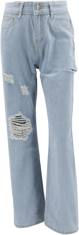 Larisalt Jeans for Women High Waist, Women Y2k Baggy Ripped Boyfriends Jeans Wide Leg Trousers Vintage Denim Pants