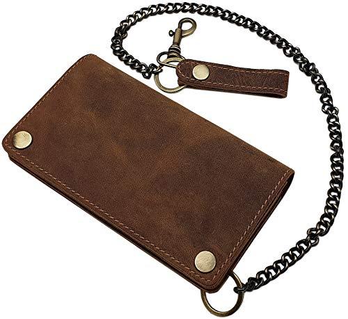 Cuero de búfalo Motero Cartera con Cadena metálica y Desmontable Tarjetero con Bloqueo RFID y NFC (Marrón)