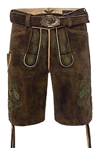 Lieblingsgwand MOSER Trachten Lederhose kurz mit Gürtel braun-used grün Fonsl 005063 - limitiert, Material Hirschleder, Größe 46