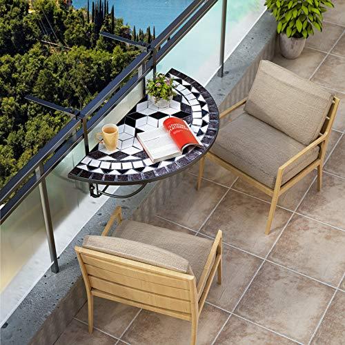 Deuba Mesa Colgante de balcón Plegable Oriental diseño Mosaico barandilla de 4cm hasta 16cm 76x40cm terraza jardín