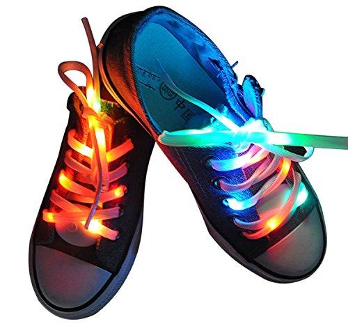 fourHeart LED Schnürsenkel 3 Lichtmodi +++ leuchtende Schuhbänder +++ 100 cm aus Nylon +++ Perfect für Sport Party Tanz Radsport Klub Disco Karneval Joggen Konzert Geburtstag Geschenk (RGB)