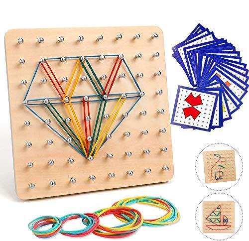 Holz Geoboard Spielzeug, Geometriebrett Montessori Form Puzzle Brett, Hölz Geoboard mit Aktivitäts, Muster Karten und Gummi Bändern, Holz Puzzle Spielzeug für Kinder (A)
