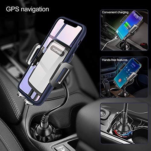 [Upgraded] Car Cup Holder Phone Mount Adjustable Gooseneck Automobile Cup-Holder-Phone-Car-Mount for iPhone 11 Pro/XR/XS Max/X/8/7 Plus/6s/Samsung S10+/Note 9/S8 Plus/S7 Edge(Grey)