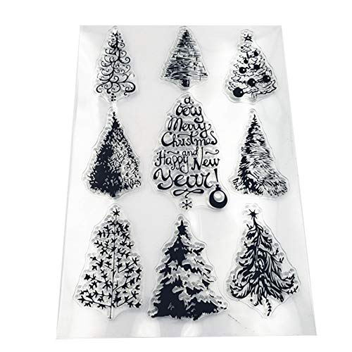 MULISTLN Merry Christams Clear Stamps Christmas Tree for DIY Scrapbooking and Card Making Decoration