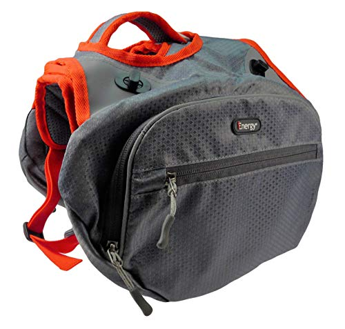 iEnergy MAE Hunderucksack - 2in1 Geschirr und Abnehmbarer Rucksack für Hunde - Wetterfest und inklusive Zwei Trinkflaschen mit Thermotaschen (Klein)