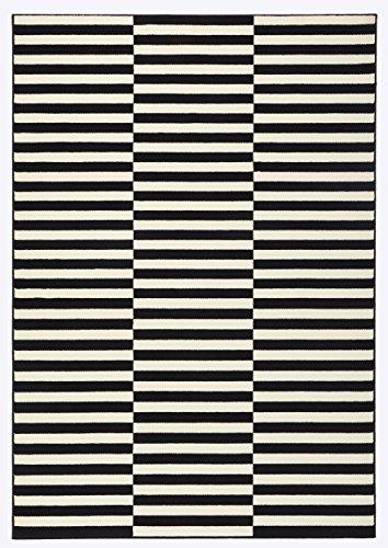 Hanse Home Kurzflor Teppich Panel Schwarz Creme, 160x230 cm