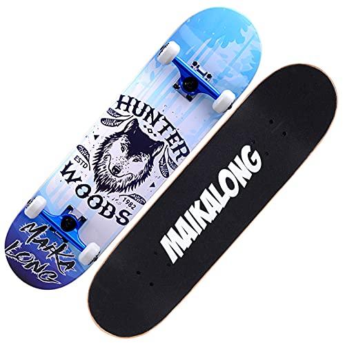 VOMI Tabla Skate Profesional para Adolescentes, Niños, Adultos, Monopatín Doble Patada con Rodamientos ABEC-11, Patineta de 31 X 8 Pulgadas, Skateboard de 7 Capas de Madera de Arce,Wolf