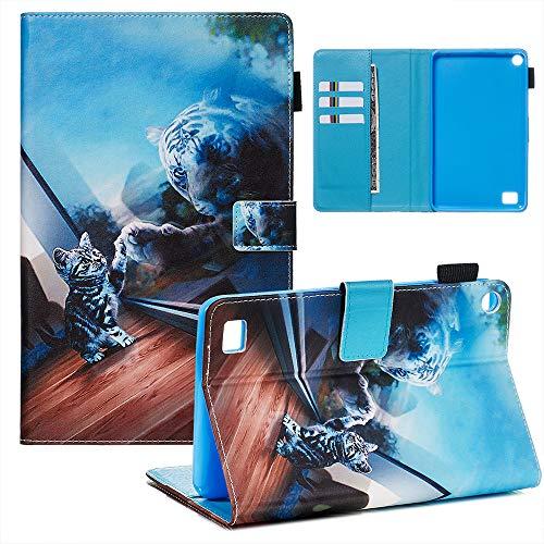 UGOcase - Funda Tipo Libro para Tablet Amazon Fire 7 (9ª generación, liberación 2019) - Funda de Piel Ultrafina con función Atril para Fire 7 2019 00-Cat Mirror