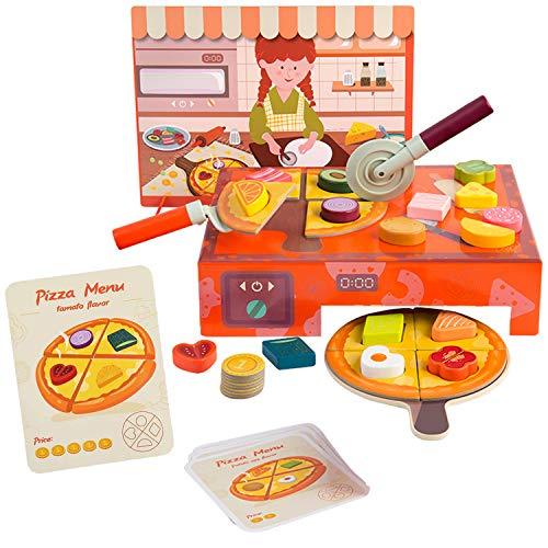 TOP BRIGHT Kit Pizza Bambini – Set Pizza in Legno per Bambini +3 Anni – con Forno Pizza, 16 Ingredienti, Menu Pizza – Gioco Educativo per Bambini Stimola Le capacità Cognitive e la creatività