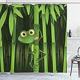 Cortina de ducha de animales, ilustración divertida de la rana divertida y amistosa en el tallo de la naturaleza de los árboles de la selva de bambú, juego de decoración de baño de tela de tela con ga