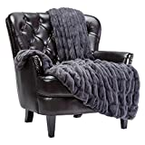 Chanasya Ruched Luxurious Soft Faux Fur Throw Blanket - Fuzzy Plush and Elegant with Reversible Mink Blanket for Sofa Chair Couch Living Room Birthday Gift and Home Decor (50x65 Inches) Gray