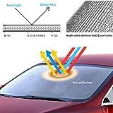 VXDAS Foldable Windshield Sunshade for Tesla Model 3, Car Custom Fit Reflective Front Window Sun Shade Visor Shield Cover UV Protection Sunshade Accessories for 2018-2019 Tesla Model 3