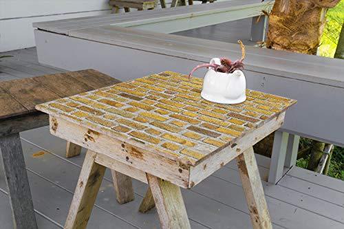 Wallario Aufkleber Selbstklebende Garten-Tisch-Decke - Ziegelsteinwand in gelb - Backsteine in 80 x 80 cm