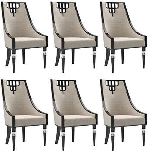 Casa Padrino Luxus Art Deco Esszimmer Stuhl Set Beige/Schwarz/Silber 55 x 55 x H. 105 cm - Edles Küchen Stühle 6er Set - Art Deco Esszimmer Möbel