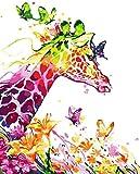 ZXlDXF Pintura por números para adultos Colorido Jirafa mariposa DIY pintura por números Kits sobre lienzo 40,6 x 50,8 cm