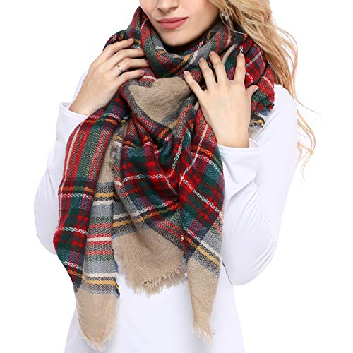 Bess Bridal Women's Plaid Blanket Winter Scarf Warm Cozy Tartan Wrap Oversized Shawl Cape (One Size, Camel)