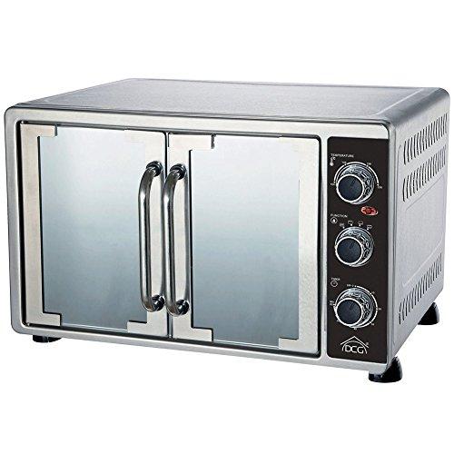 DCG Eltronic, MBS58 - Horno eléctrico ventilado de doble puerta, capacidad de 58l, de acero inoxidable, color plata, con termostato ajustable, temperatura máxima de 230°C, temporizador de 60minutos
