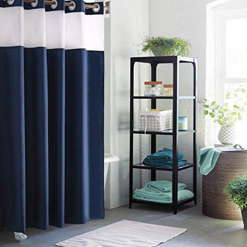 SACHUKOT Duschvorhang für Badezimmer Wasserdicht Polyester Bad Vorhang Maschinenwaschbar (Blau 180 * 180cm)