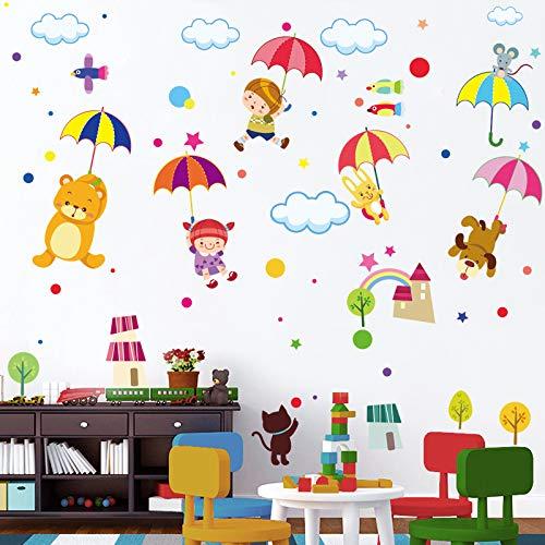 Paraguas animal pegatina de pared de dibujos animados habitación para niños niño niña decoración de dormitorio jardín de infantes diseño de aula pegatinas de pared pegatinas de pared 50x70