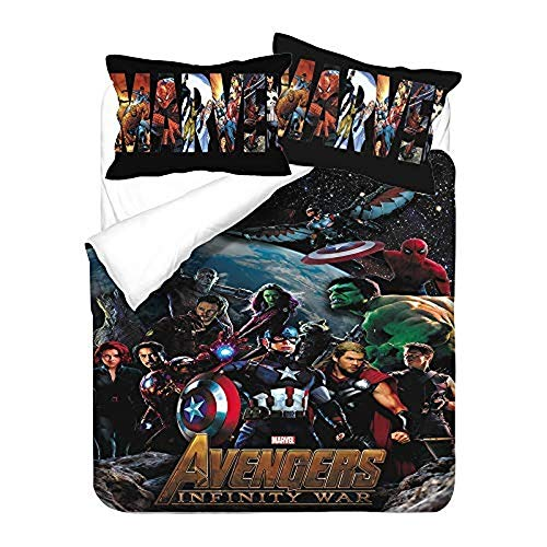 NO-BRAND Avengers Duvet Cover Set, Spider-Man Bedding Set, Science Fiction 3D Pattern Design, Fade-Resistant Microfiber Luxury Quilt Cover (Avengers 9.220 x 240 cm)