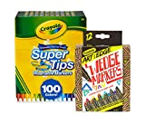 Crayola 100Count Super Tips Washable Markers with 12Count Wedge Markers, Adult Coloring, Gift...