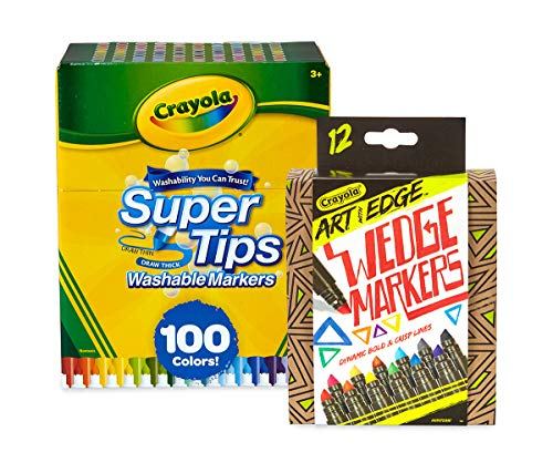 Crayola 100Count Super Tips Washable Markers with 12Count Wedge...