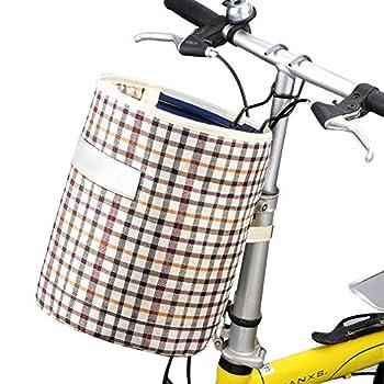 Byjia Panier Avant De Vélo Pliable Sacoche De Guidon De Vélo en Toile Étanche avec Crochet Et Poignée pour Chiens Chats Animaux De Compagnie Ou Autre (2PCS),Beige