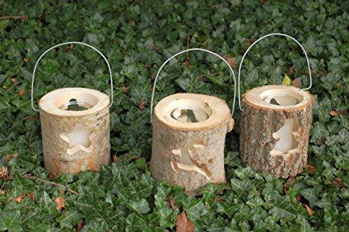 Holzlaterne Windlicht im Baumstamm mit Glas und Kerze (3er Set)