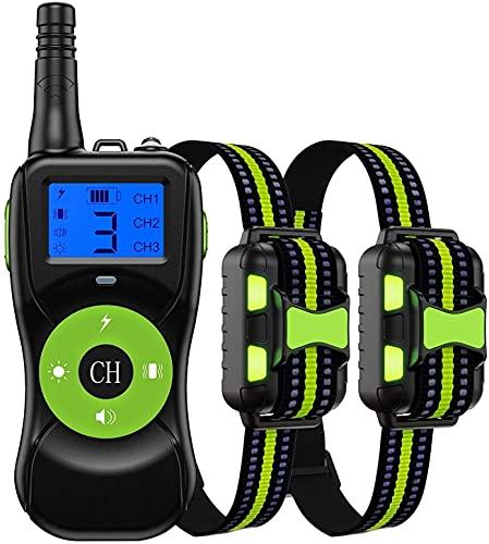 LXNQG Cuello de entrenamiento de perros Cuello de entrenamiento de la vibración Remote 2624 pies USB Recargable IPX7 Impermeable Adecuado para 2 perros con zumbador, vibración, vibración, DIRIGIÓ Verd