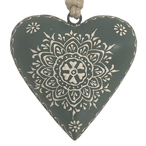 L'ORIGINALE DECO Cœur à Suspendre en Métal Fer Patiné Gris15 cm x 15 cm