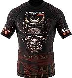 SMMASH Samurai Rashguard Hombre Manga Corta, Camisetas Hombre para MMA, Artes Marciales, Krav Maga, BJJ, K1, Karate, Material Transpirable y Antibacteriano, (L)