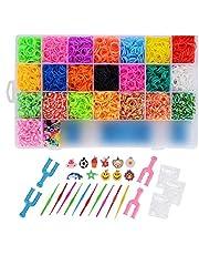 FORMIZON DIY Pulseras Gomas, 6800 Kit Completo, 22 Colores, Kit de Bandas Trenzadas Brazaletes y Juguetes, Juego Creativo para Niños
