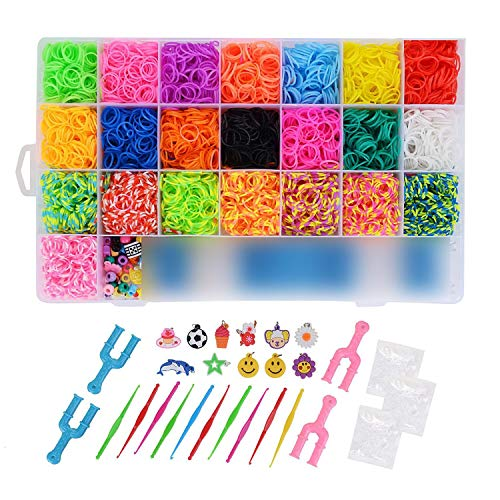 FORMIZON Loom Bands 6800 Elastici+22 Colori+50 Perline+Fibbia S 100+1 Intrecciatore+4 Fionda a Fionda a Forma di U+10 Piccoli Ciondoli+10 Piccoli Uncinetto+2 Uncinetti in Plastica