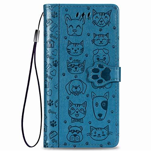 Thoankj Huawei Honor 9A Hülle Tiere Süße Katze & Hund Stoßfest Flip PU Leder Wallet Cover mit Magnetständer Folio TPU Silikon Bumper Schutzhülle für Huawei Honor 9A Hülle