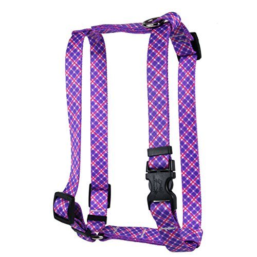 Yellow Dog Design Purple Pink Diagonal Plaid Roman H Harness, Small/Medium-3/4 Wide fits Chest of 14 to 20