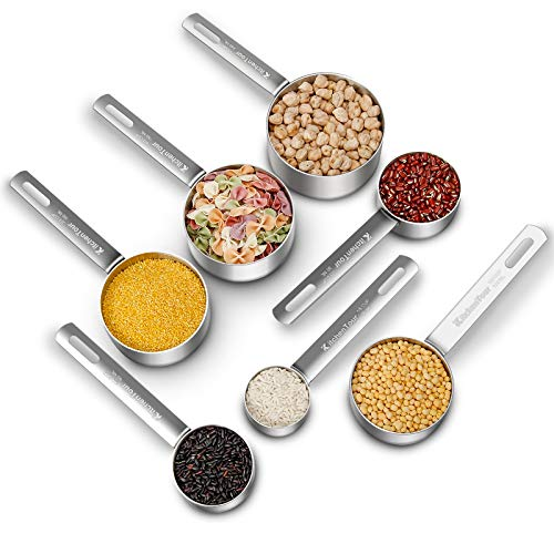 KITCHENTOUR Heavy-duty Stainless Steel Measuring Cups Set with Long Handles