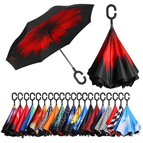 Eono by Amazon - Inverted Stockschirme, Winddicht Regenschirm, Reverse Stockschirme mit C Griff, Selbst Stehend, Double Layer, Schützen vor Sturm Wind, Regen und UV-Strahlung, Rote Blume