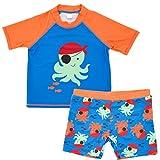 Kolylong® Baby Junge Cartoon Pirat Krake Muster Shirts Tops Rundhals Kurzarm T-Shirts Bluse + Shorts Badebekleidungsset Bademode Beach Bekleidungssets Kleidung Outfits Set 12Monate -7 Jahre