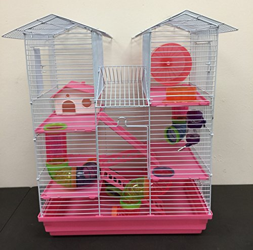 Large 5 Floor Twin Towner Habitat Syrian Hamster Rodent Gerbils Mouse Mice Rat Cage (Pink)
