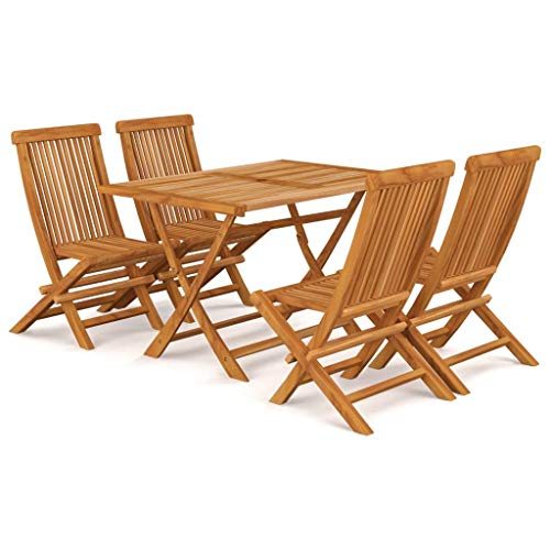 BIGTO Outdoor Dining Set B of 5 Pcs Solid Acacia Wood Garden Table Chair Set Patio Furntain
