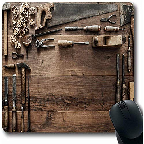 Mousepads Gouge Carpenter Vintage Houtbewerking Gereedschap Timmerwerk Werkbank Workshop Verouderde Board Carver Oblong Vorm 18X22Cm Antislip Gaming Mouse Pad