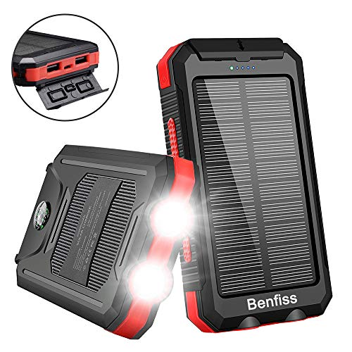 Solar Charger, Benfiss 20000mAh Portable Outdoor Waterproof Solar Power Bank with 2 Led Light Flashlights and Dual 5V USB Output Ports, External Backup Battery for Camping for Tablet Smartphones