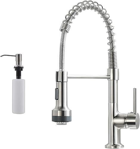 discount GIMILI LED Spring Kitchen outlet online sale Sink Faucet with Soap Dispenser Brushed outlet online sale Nickel online sale
