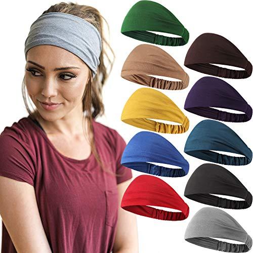 10 Stück Breit Stirnband Einfarbig Boho Yoga Haarband Elastisch Dehnbar Weich Schweißband Haar Stirnbänder Zubehör für Frauen und Mädchen