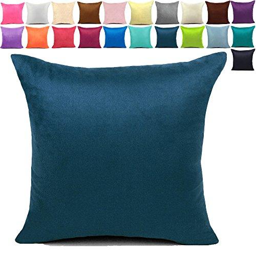 KAMIXIN - Fundas de cojín o almohada cuadradas de ante para el hogar, de colores lisos, para sofá, cama o asiento de coche, tela, azul oscuro, 50x50cm=20x20