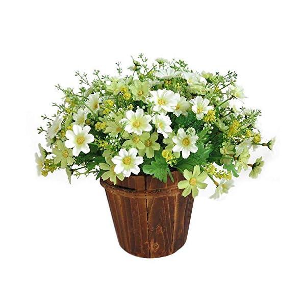 1 Bouquet 28 Heads Artificial Fake Daisy Flower Indoor Hanging Planter Home Wedding Garden Cemetery Decor (White Green)