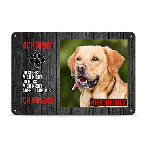 PR Print Royal Blechschild PERSONALISIERT mit EIGENEM Hundefoto und Spruch - Achtung! Ich Bin da - Geschenkidee für Hundebesitzer/Türschild/Hundeschild - Querformat DIN A4
