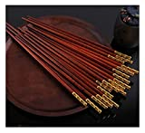 Natural bamboo chopsticks 10 Pairs of Natural Serpentine Wood Chopsticks, Gold-Plated Brass, Holiday Gift, Asian Tableware,25cm Can be cleaned in the dishwasher
