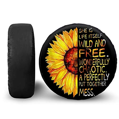 BIGCARJOB Sunflower with Posotive Words Sunflower Spare Tire Cover for RV Trailer 14 15 16 17 Inch Wheel Tire Covers Weatherproof Dust-Proof and Corrosion Protection