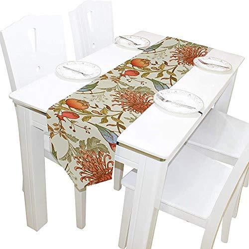 GoodLucke Flores japonesas Vintage Hojas pájaros Camino de Mesa decoración para el hogar poliéster Mesa de café Camino para cenas Familiares o reuniones